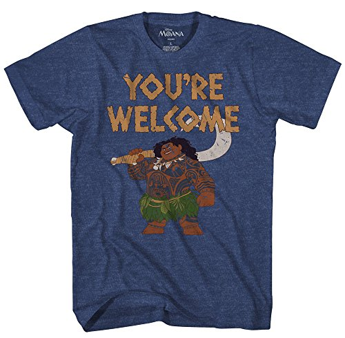 Disney Moana Maui You're Welcome T-Shirt (Extra Large, Navy Heather)
