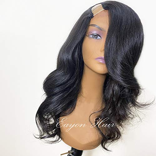 """U Part Wig Human Hair Wigs for White Women U Part Curly Hair Wigs Glueless 130% Density Loose Wave Human Hair Wig 10A Brazilian Virgin U Part Wigs for Black Women Human Hair Body Wave Wig 16"""" Black"""