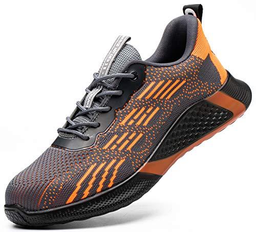 SUADEX おしゃれ 軽量 あんぜん靴 安全靴 オレンジ 安全スニ一カ一 作業靴 工事現場作業靴 通気性 鋼先芯 耐摩耗 防刺 耐滑ソール アウトドア ワークシューズ セーフティーシューズ スニーカー