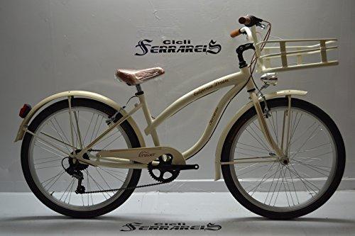 Bicicletta Cruiser Chopper Custom Alluminio 26 Panna Marrone Nero Grigio Avorio Totalmente Personalizzabile