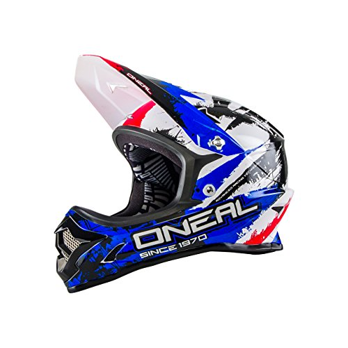 O'Neal - Casco da Bicicletta da Uomo, Linea: Backflip Fidlock DH Rl2 Shocker, Uomo, Backflip Fidlock DH Rl2 Shocker, Nero/Rojo/Azul