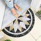 Buyfunny01 - Zerbino rotondo semicerchio, per ingresso e ingresso ingresso ingresso ingresso zerbino antiscivolo per cucina acqua assorbente tappeto per corridoio balcone veranda porte