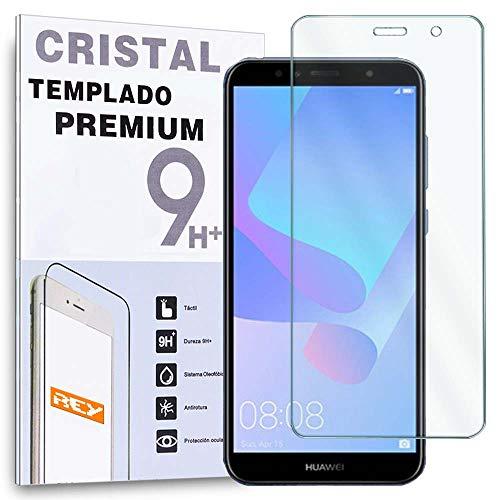 REY Protector de Pantalla para Huawei Y6 2018, Cristal Vidrio Templado Premium