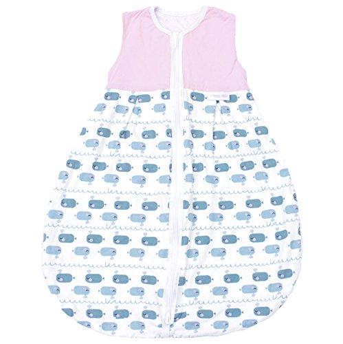 Premium Baby Schlafsack Sommer, Größe: 110cm (104/116), Bequem & Atmungsaktiv, 100% Bio-Baumwolle, OEKO-TEX Zertifiziert, Flauschig Weich, Bewegungsfreiheit, 1.0 TOG, Wal Rosa von emma & noah