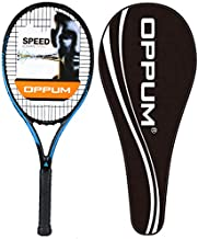 Oppum New Graphene Ultra Carbon Pro Tennis Racket, 360 Super Light Speed Team Tennis Raccquet (Graphene Racket PRO-2000 (Black Blue), 4 3/8)