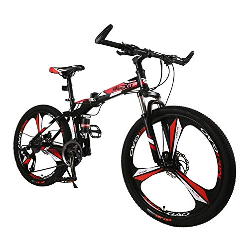 LYRWISHJD 26 Inch Folding Mountain Bike for Adult, Lightweight High Carbon Steel Frame Fully Suspention Road Bikes with Suspension Fork Disc Brake (Color : Red, Size : 26 inch)