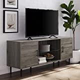 Walker Edison Furniture Company Mid Century Modern Wood Universal Stand for TV's up to 65' Flat Screen Cabinet Door and Shelves Living Room Storage Entertainment Center, 60 Inch, Slate Grey