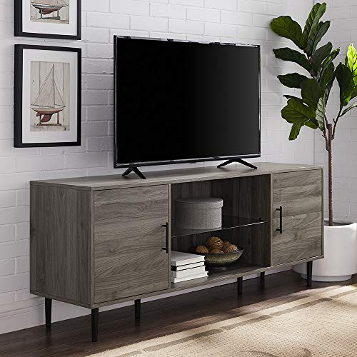 "Walker Edison Furniture Company Mid Century Modern Wood Universal Stand for TV's up to 65"" Flat Screen Cabinet Door and Shelves Living Room Storage Entertainment Center, 60 Inch, Slate Grey"