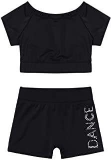 renvena Kids Girls Two Piece Sports Active Outfits Shorts Sleeves Tops with Bottoms Set Gymnastic Dancewear