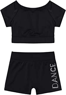 ranrann Girls 2 PCS Ballet Dance Outfits Team Uniform Gymnastic Crop Top with Booty Shorts Active Sports Set