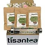 Energizing Herbal Tea Set 3 sobres con cierre hermético y protector de aroma de 50 gr y Bote con infusor de 500 ml. Ideal si te sientes sin quizás y sin energía, para llevar siempre contigo. Tisantea