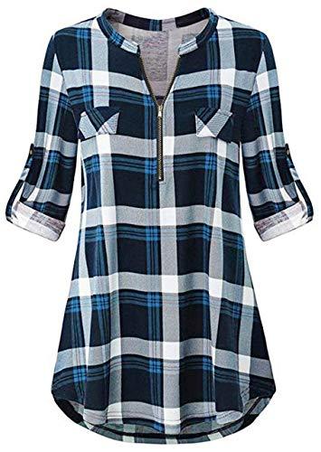 Odosalii Damen V-Ausschnitt Kariert Bluse 3/4 Ärmel Langarm Reißverschluss Tunika Longshirt Hemd Tops T-Shirt, XL, A_blau Kariert