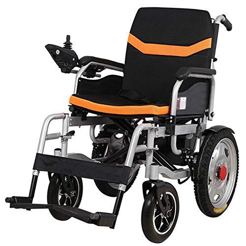 Faltbarer Leichter Elektrischer Rollstuhl mit Joystick, nur 2kg mit Li-Ion Battery, 100 kg Nutzlast,Gummihinterräder für ältere und behinderte Menschen