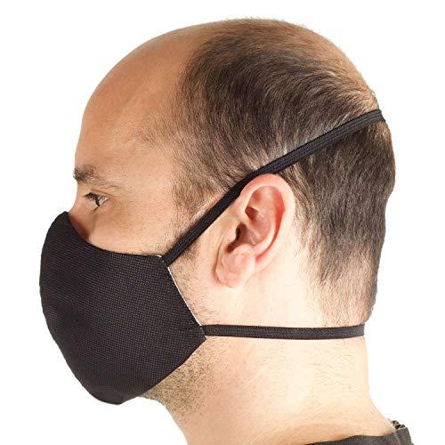 Lot de 3 Masques Confortable Lavable et Réutilisables, Unisexe Visage Tissu TNT Hydrofuge et Respirant, 100% Coton sur la peau. Deux tailles Large et Slim - Made in Italy (TÊTE: SLIM. NOIR)