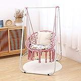 Luz, silla de hamaca, silla colgante de cuna para interiores y exteriores con soporte cesta colgante de red de cuerda de algodón, silla de huevo