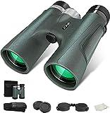 Binoculars for Adults 12x42, JZBRAIN Hunting Binoculars for Bird Watching with BAK4 Lens and Weak Light Night Vision, 18mm Large Eyepiece Lightweight Binoculars for Hunting Travel Sports
