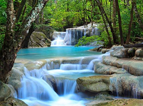 wandmotiv24 Fototapete Wasserfall im Wald Größe: 350 x 260 cm Wandbild, Motivtapete, Vlietapete KTk485