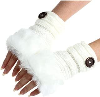 Highpot Womens Winter Gloves Touch Screen Gloves Warm Rhinestone Faux Fur Gloves
