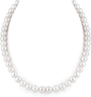 Forever Love Natural A Quality White Cultured Freshwater Pearl Necklace for Women 18 inch Great Gift PN1-18-89