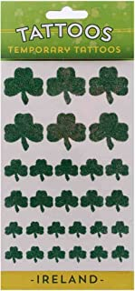 Temporary Tattoo Pack with Green Glitter Shamrock Designs