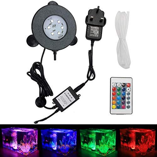 GreenSun LED Lighting Aquarium-Ausströmerstein, 3 W, tauchfähig, RGB-Farbwechsel, Unterwasser-Luftpumpensteine