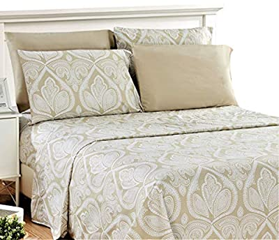 Bed Sheet Set - Brushed Microfiber 1800 Thread Count Bedding - Wrinkle, Stain and Fade Resistant - Hypoallergenic - Deep Pocket King Size Sheets Set - 6 Piece (King, Paisley Ivory)
