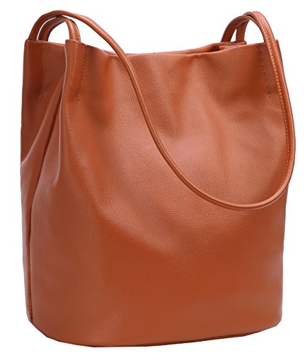 Iswee Tote Bag Stylish Ladies Hobo Bag Large Capacity Bucket Bag Shoulder Bag Designer Purse for Women (Brown)