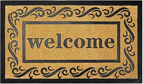 Lawei Fußmatte Kokos Motiv Welcome Fußabtreter Kokosmatte Rutschfast Schmutzfangmatte für Außen und Innen - Gelb, 75 x 43cm