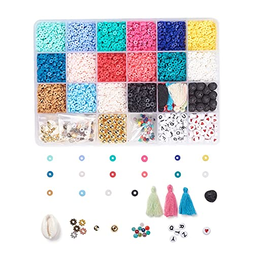 Cheriswelry Cuentas espaciadoras de arcilla de polímero de 4 mm para hacer pulseras de joyería, 3040 piezas de monedas de disco Heishi de arcilla con conchas, borla de alfabeto cuentas de lava
