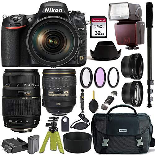 Nikon D750 DSLR Camera with AF-S NIKKOR 24-120mm f/4G ED VR and Tamron AF 70-300mm f/4-5.6 Di LD Macro Lens for Nikon DSLR + Nikon Gadget Bag & Accessory Bundle
