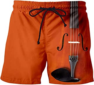 LKKOY Men's Gym Shorts Lightweight Jogging Shorts Mesh Tracksuit Bottoms Quick Dry Running Shorts Rock Instrument Pattern
