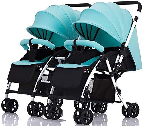 Landaus Double poussette de bébé amovible poignée bébé réversible transport Sit And Can Lie Down Double chariot léger et pliable Fournitures pour bébé (Color : Mint Green)