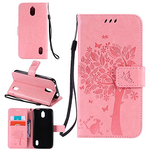 Tasche für Huawei Y625 Hülle, Ycloud PU Ledertasche Flip Cover Wallet Hülle Handyhülle mit Stand Function Credit Card Slots Bookstyle Purse Design Katze Baum Schmetterling Geprägt Rosa