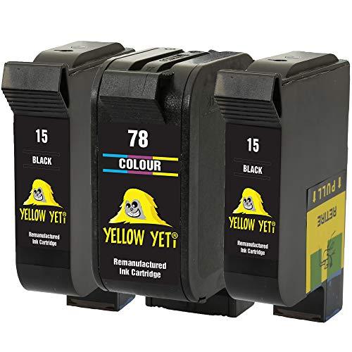 Yellow Yeti Ersatz für HP 15 78 Druckerpatronen (2 Schwarz, 1 Farbe) kompatibel für HP Deskjet 3810 3820 815c 916c 920c 940c 948c Officejet 5110 V30 V40 V45 PSC 2120 700 720 750 760 900 950 Copier 310
