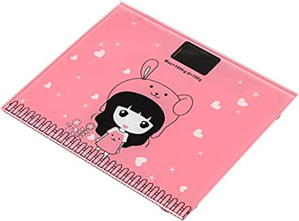 TOPBATHY Mini Electronic Scale Home Health Weight Scale Digital Electronic Health Scale with Display Not Included Battery (Pink Girl Pattern)