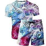 Pantalones de Playa Impresos de Verano para Hombres y Mujeres de Verano Camiseta Boutique de Moda 2 Pieza patrón de Elemento Unicornio 1 M