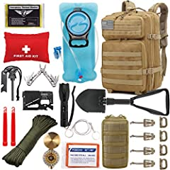 ✅【Tactical Backpack + Hydration Bladder + 1st Aid Kit + Survival Tool Kit, Everything You Need for Your Next Adventure】Customized by U.S Military veterans, more than 23 unique accessories and survival tools are packed into this 900D 42L tactical back...