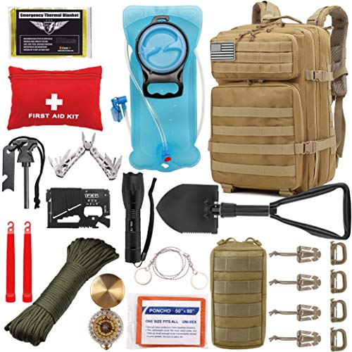 Best survival backpacks - EVERLIT 42L Tactical Backpack Survival Kit Bugout Bag Assault Pack Rucksack with Hydration Bladder and Survival Gear 3 Day Rucksack Molle Outdoor Hiking Daypack Hunting (Tan)