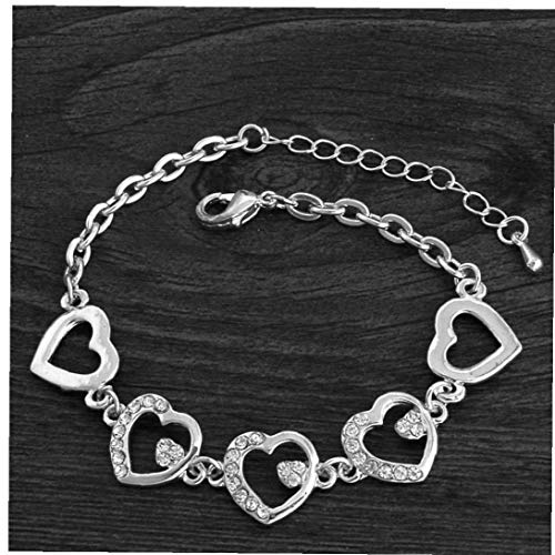 BYFRI Zomer Stijl Romantische Hart Armband Femme Zilveren Kleur Vrouwen Bruiloft Kristallen Armbanden Fijne Sieraden