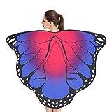 Andouy Frauen Schmetterlingsflügel Schals Flügel Tuch Umhang Damen Nymphe Pixie Poncho Kostümzubehör(180X145CM.Pink)