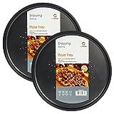 Sistema de ventilación redondo para servir Pizza 2 de bandejas nítido antiadherente bandeja para hornear plato de la cacerola