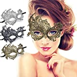 Luxury Lace Masquerade Eye Mask for Women Venetian Eye Mask Carnival Halloween Mask Mardi Gras Party Prom Ball Mask Costume Cosplay Vintage Party Supplies Mask (3 Colors All)