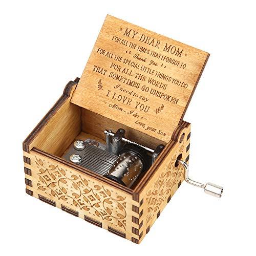 Seawang Antiek gesneden houten hand Crank Music Box Verjaardag Nieuwjaar Decoratie You are My Sunshine-Mom
