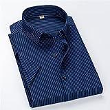 HDDFG Verano S ~ 8xl Camisa de vestir de manga corta a rayas para hombres Camisa social para hombre con bolsillo antiarrugas de ajuste regular sin planchar con cuello cuadrado