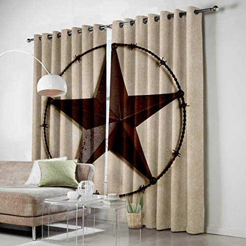 SODIKA Grommet Window Panel Curtain Set, Room Décor Curtain Drapes for Living Room Dining Bedroom - Western Texas Star,Each 52 by 90 Inch,Set of Two Panels