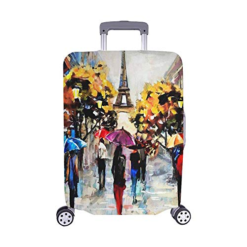 """InterestPrint Vintage Paris Eiffel Tower Travel Luggage Cover Suitcase Protector Fits 22""""-25"""" Luggage"""