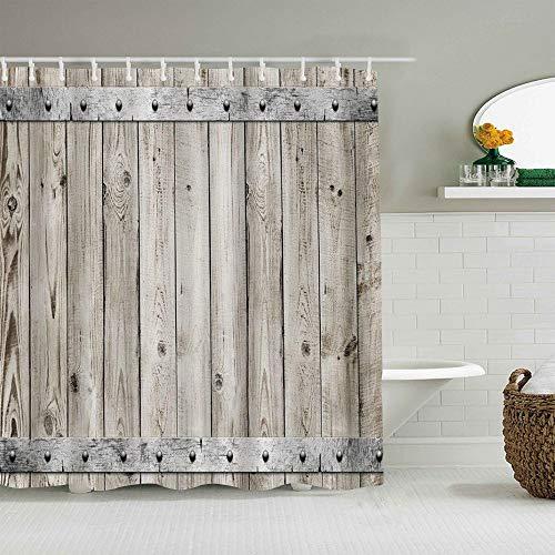 Minalo Duschvorhang,Rustikale Holzzaun Tür mit Metall Textur Western Country Theme,personalisierte Deko Badezimmer Vorhang,mit Haken,180 * 210