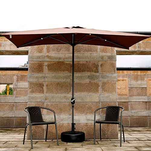 Parasol Rechteckiger Halber Sonnenschirm im Freien, Faltbarer Gartenschirm Terrassenschirm 250 × 130 cm mit Kurbel für Gärten/Balkon/Überdachung-Zelt