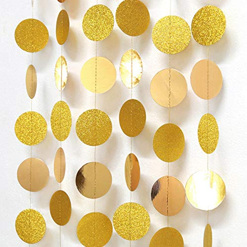 MOVKZACV Guirnalda de lunares circulares de papel con forma redonda para colgar decoraciones para fiestas de cumpleaños, bodas