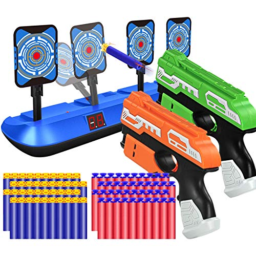 POKONBOY 2 Pack Blaster Toy Guns and Digital Shooting Target Fit for Nerf Guns, 4 Targets Auto Reset Electronic Scoring Toys Foam Dart Guns with 80 Refill Bullets for 6 7 8 9 10 Year Old Boys Kids